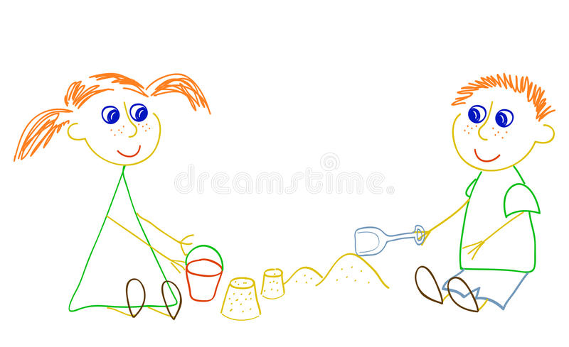 Girl and boy playing with sand