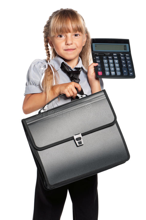 Little Girl With Calculator Stock Photography
