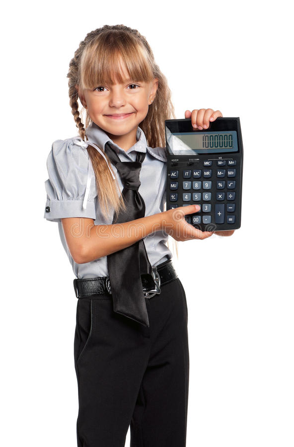 Download Little Girl With Calculator Stock Image - Image: 33158977