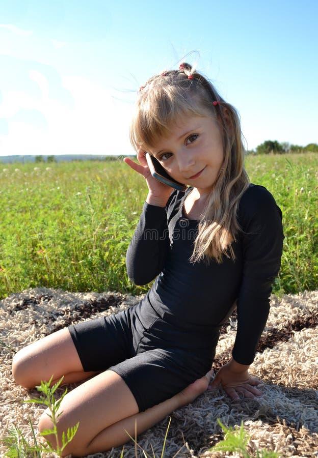 Little girl calls stock image