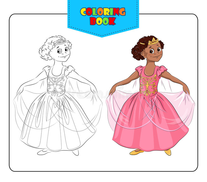 Little girl in carnival costume Princess. Coloring book stock illustration