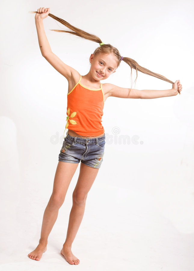 Little Girl In Casual Dress Stock Image