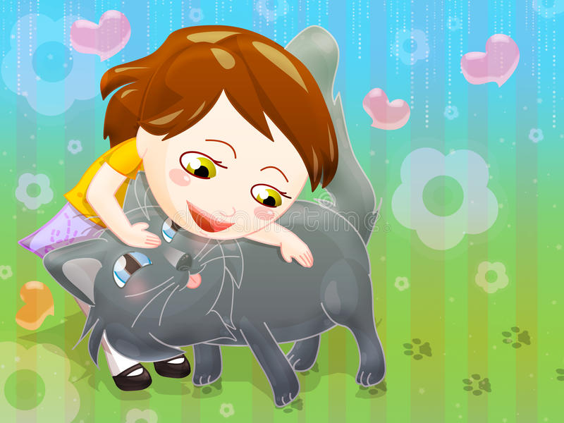 Download Little girl and cat stock illustration. Image of grey - 23950597