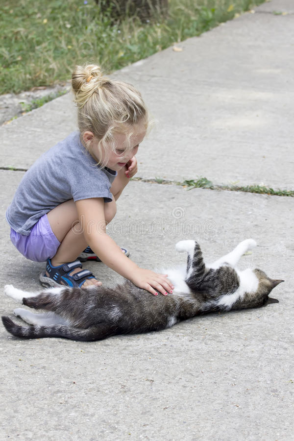 Little girl with cat. Little girl cuddles a white and grey cat royalty free stock photos