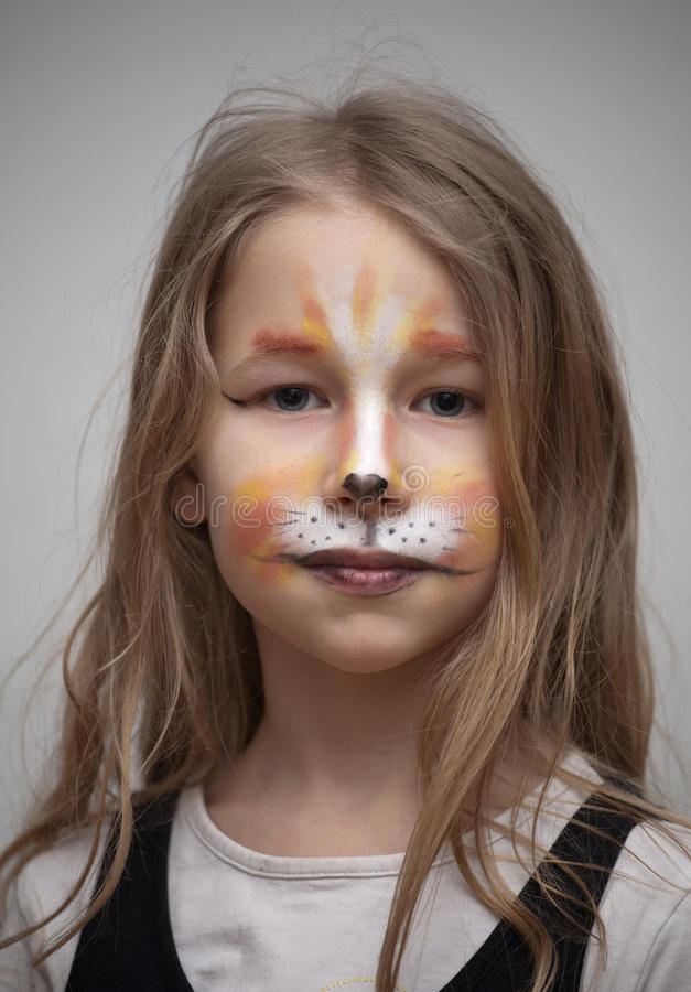 Little Girl With Cat Painting Makeup Portrait Stock Photo - Image Of Children Beautiful 39086916