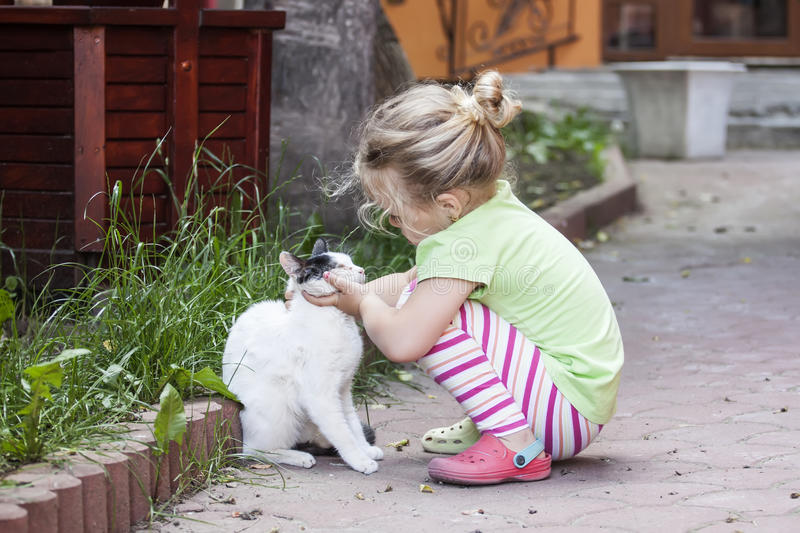 Little girl with cat. Little girl talks to a white cat royalty free stock photos