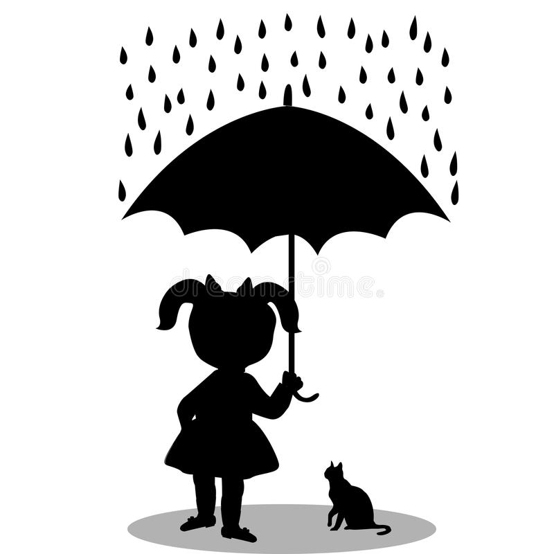 Little girl with a cat under an umbrella stock illustration