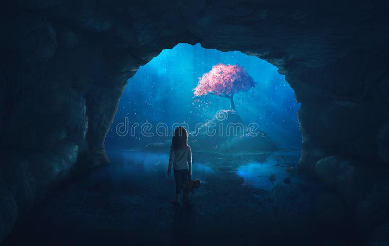 Cave and cherry tree. Little girl in cave looks at a beautiful cherry tree royalty free stock images