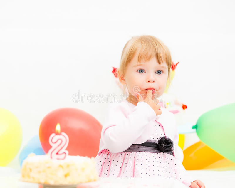 Download Little Girl Celebrating Second Birthday Stock Photo - Image: 26069980