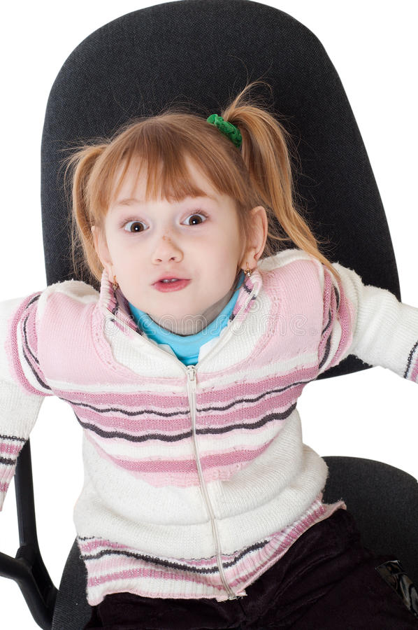 little girl in chair stock photo image of gift chair 15479542. Black Bedroom Furniture Sets. Home Design Ideas