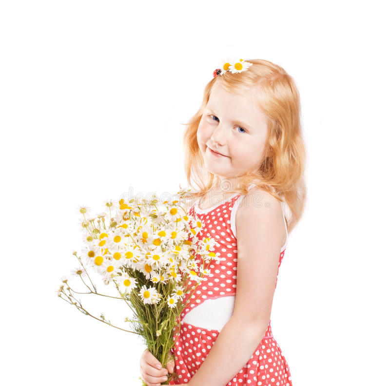Little girl with chamomile royalty free stock photo