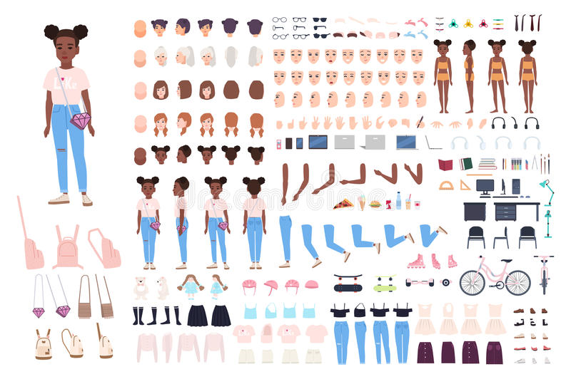 Little girl character constructor. Female child creation set. Different postures, hairstyle, face, legs, hands, clothes royalty free illustration