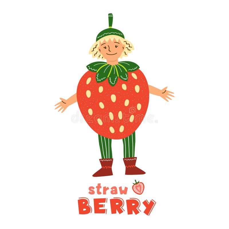 Little girl in strawberry fruit costume. Little girl character in strawberry fruit costume. Kid dressed for kindergarten, school performance, show, carnival.Red vector illustration