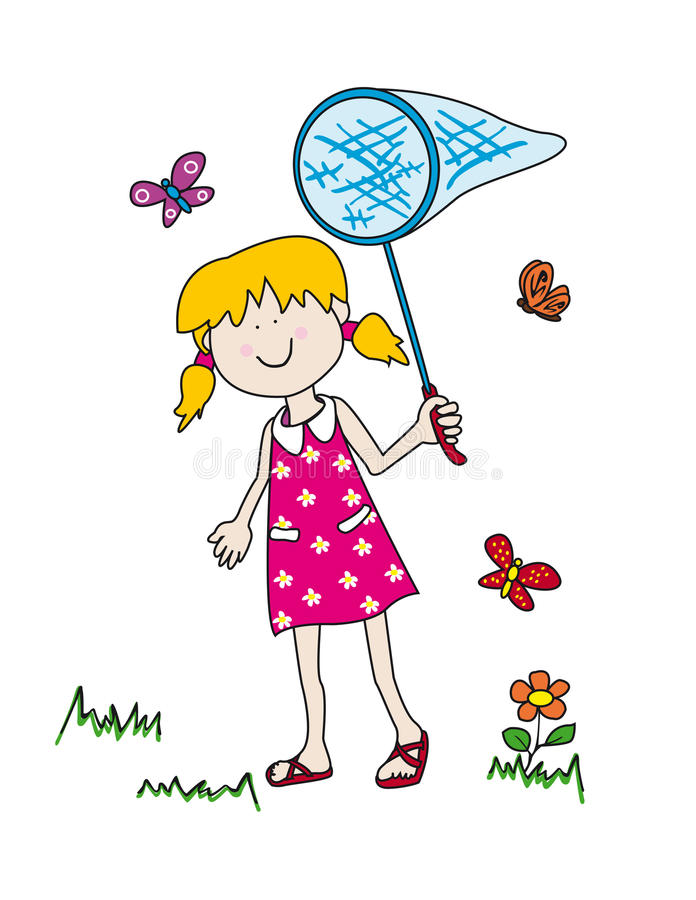 Download Little Girl Chasing Butterflies Stock Vector - Image: 19870645