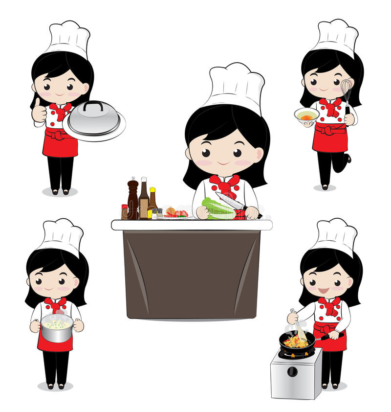 Little girl chef. Cooking on white background stock illustration
