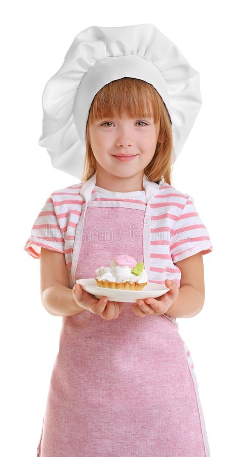 Little girl in chef hat royalty free stock images