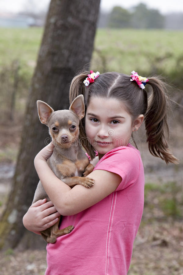 Little girl with Chihuahua puppy. Beautiful little brown eyed brunette girl holding a little chihuahua outdoors with natural green background royalty free stock photos