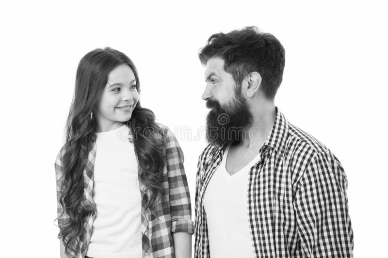 Little girl child love her father. Happy family, happy child. Bearded man father with child. Fathers cutie. Family day. Little girl child love her father. Happy royalty free stock image