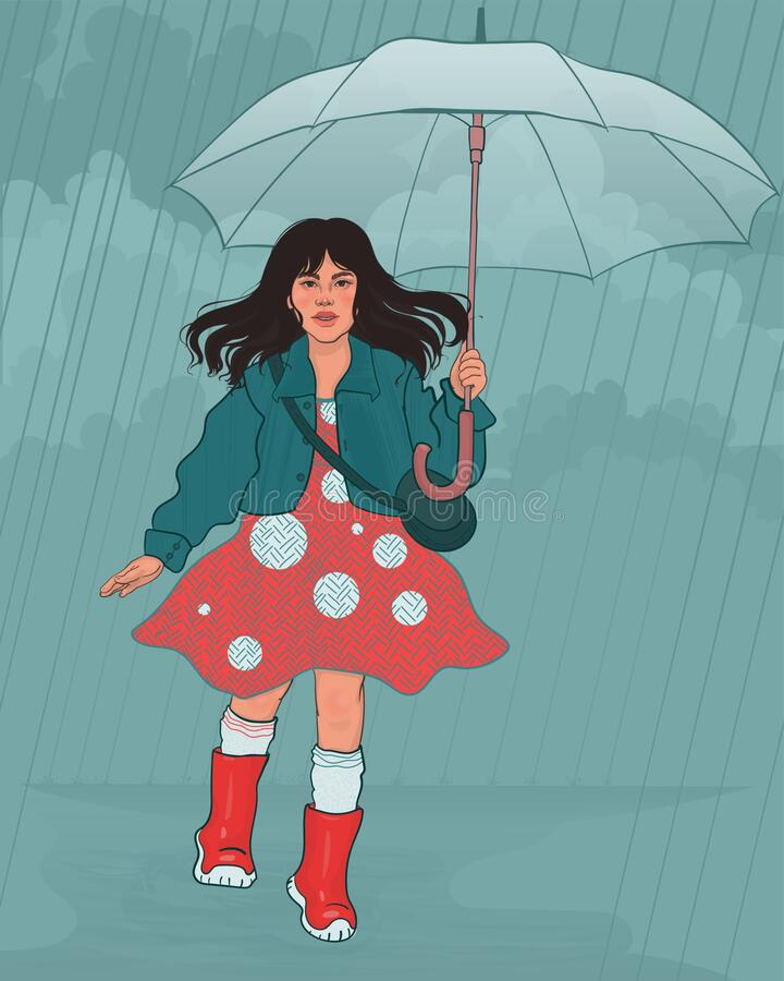 little girl child with an umbrella stock photo