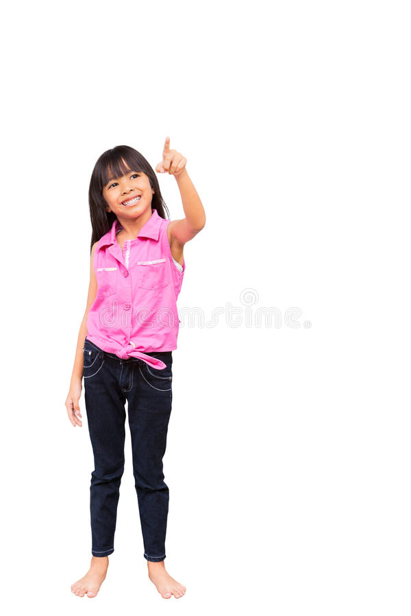 Little Girl Is Choosing Empty Whiteboard Royalty Free Stock Photos