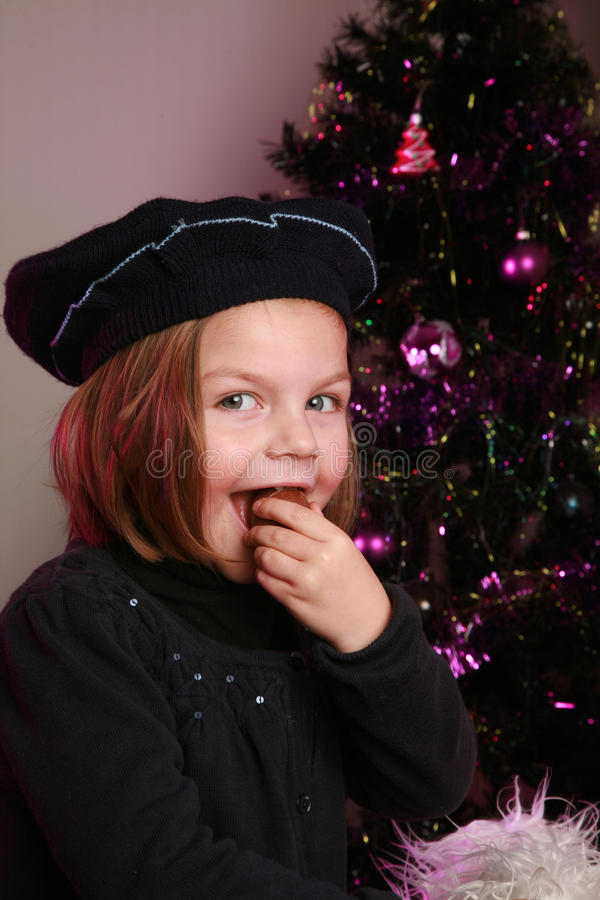 Little girl at christmas royalty free stock image