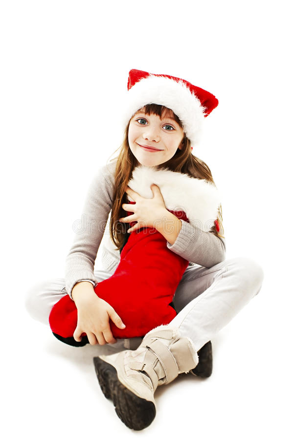 Little girl with Christmas gift royalty free stock photo