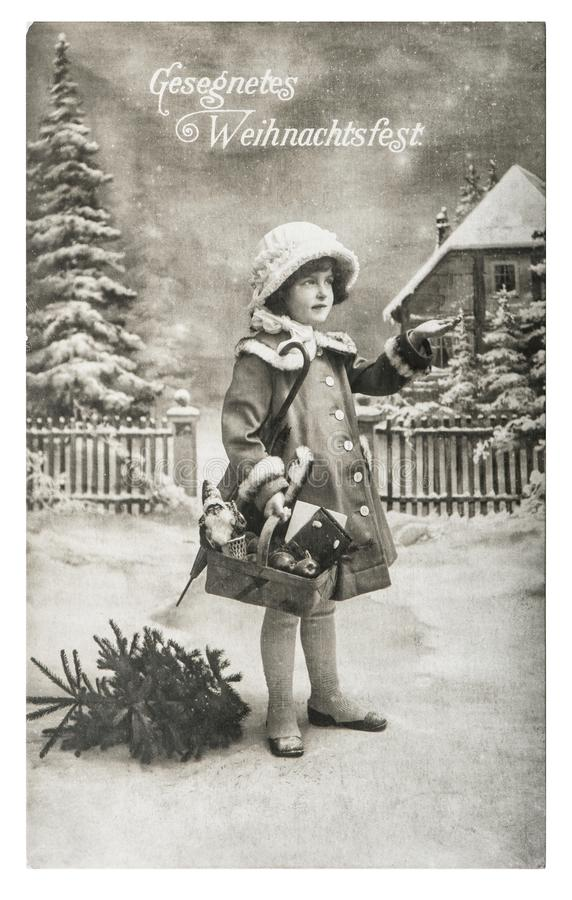 Little girl christmas tree gifts vintage toys. Little girl with christmas tree, gifts and vintage toys. Antique picture with original film grain and scratches stock photos