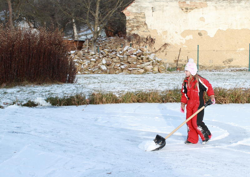 Download Little Girl Cleaning Ice On Pond Stock Image - Image: 28088519