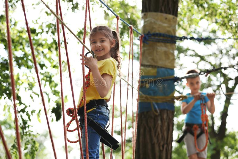 Little girl climbing in adventure park stock images
