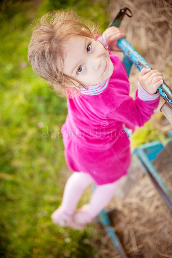 Download Little Girl Climbs On Horizontal Stock Photo - Image: 19726148