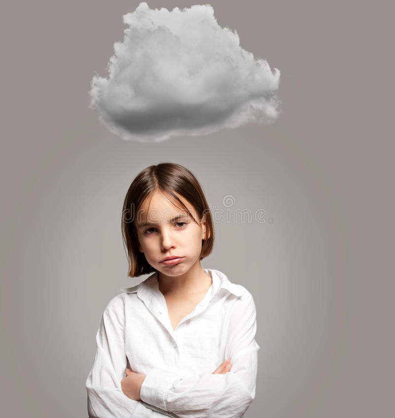 Little girl with cloud royalty free stock photo