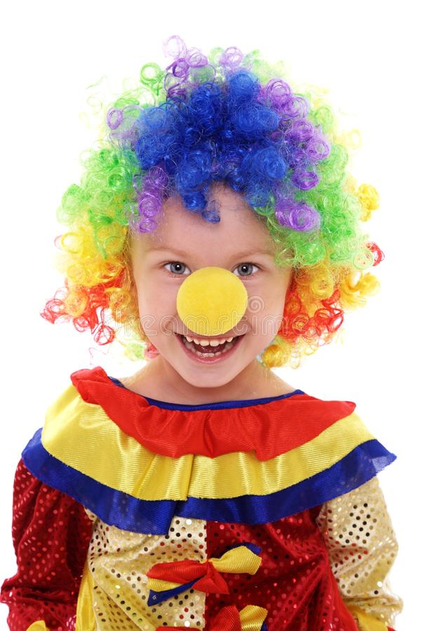 Little girl in a clown costume stock images