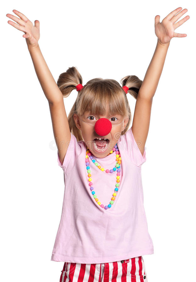 Download Little Girl With Clown Nose Stock Image - Image: 27027137