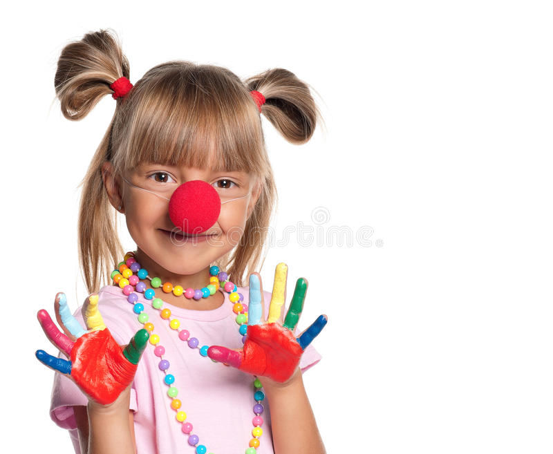Download Little Girl With Clown Nose Stock Image - Image: 27284033
