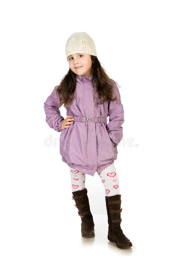 Download Little girl in a coat stock photo. Image of topcoat, beauty - 22041018