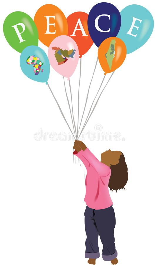 Little girl of color holds balloons with peace written royalty free illustration