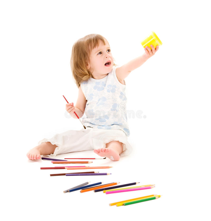 Download Little Girl With Color Pencils Stock Photo - Image of crying, paint: 11013920
