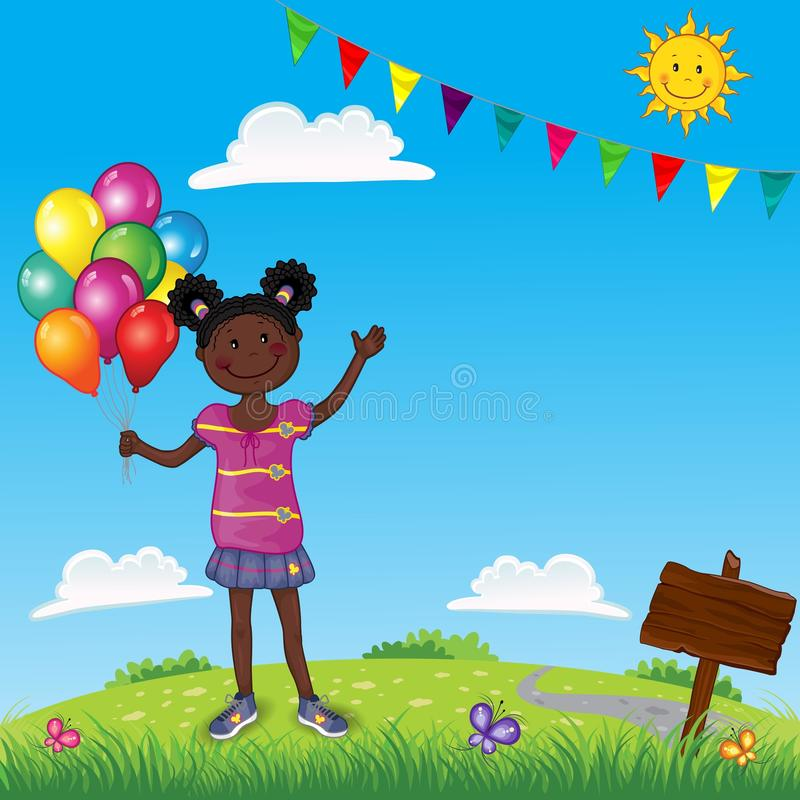 Little Girl With Colorful Balloons On Landscape stock illustration