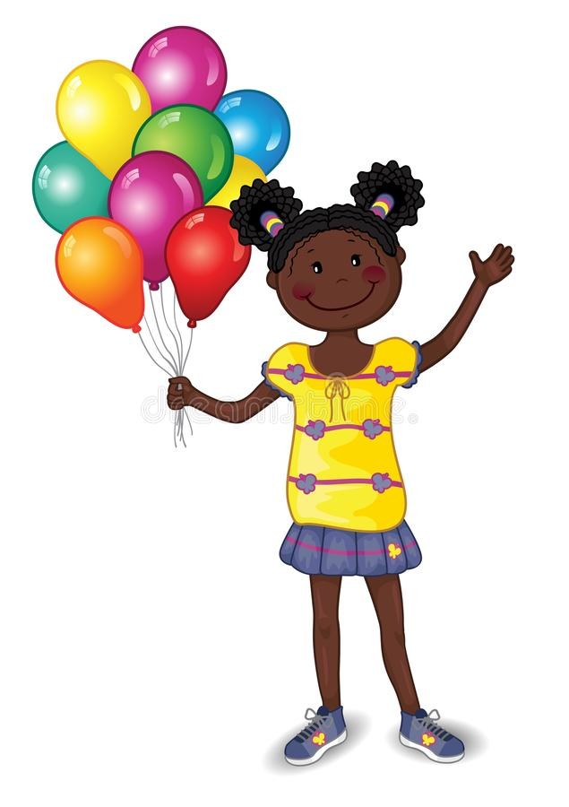 Little Girl With Colorful Balloons royalty free illustration