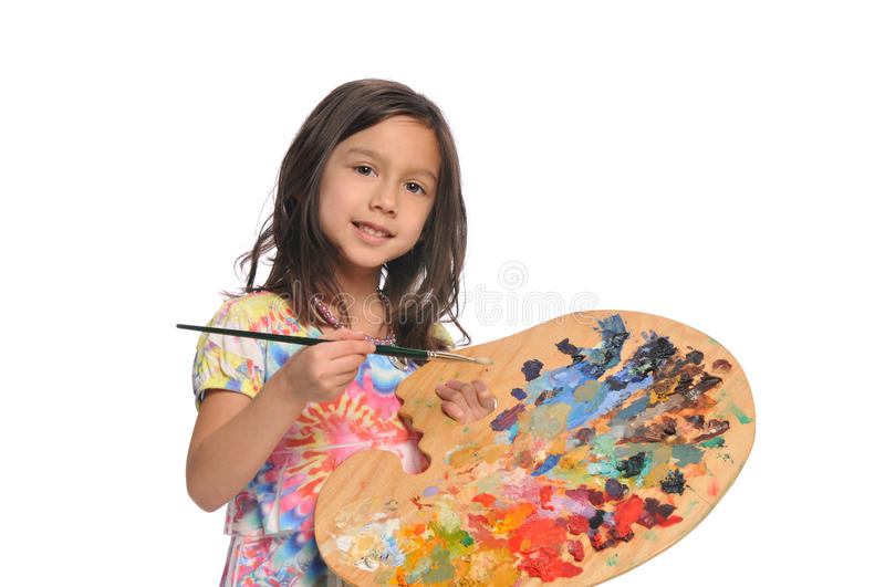 Little Girl with colorful palette. Isolated on a white background stock image