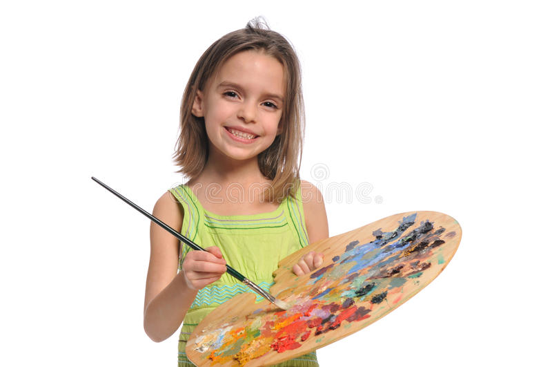 Little Girl with colorful palette royalty free stock image