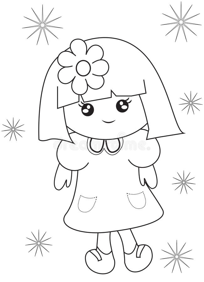 Little Girl Coloring Page Stock Illustration Image 50763384