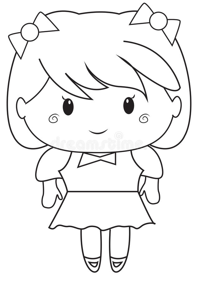 Download Little Girl Coloring Page Stock Illustration. Illustration Of  Colors   52086448