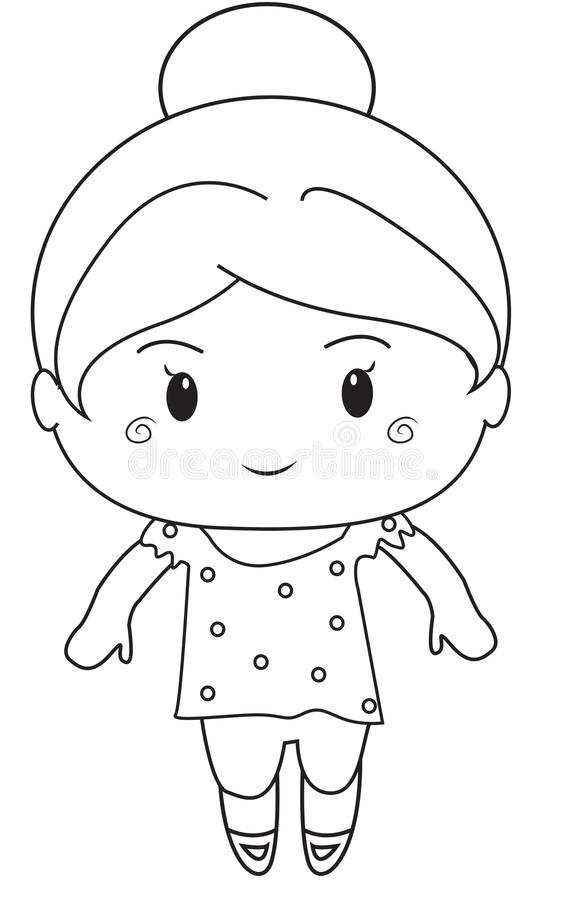 Little Girl Coloring Page Stock Illustration Image 52087019
