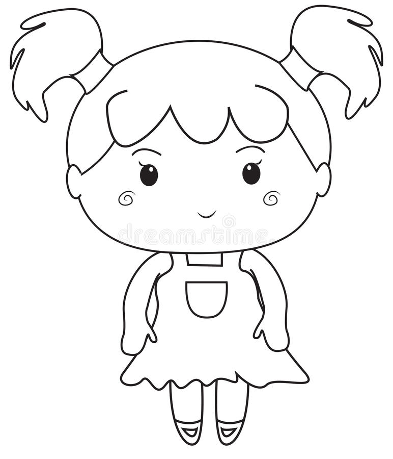 Little Girl Coloring Page Cute Cartoon Picture Of A Little