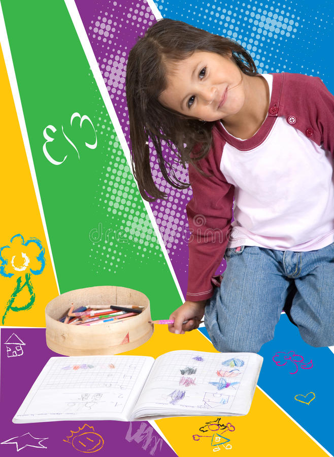 Download Little girl colouring stock photo. Image of happy, children - 10689652
