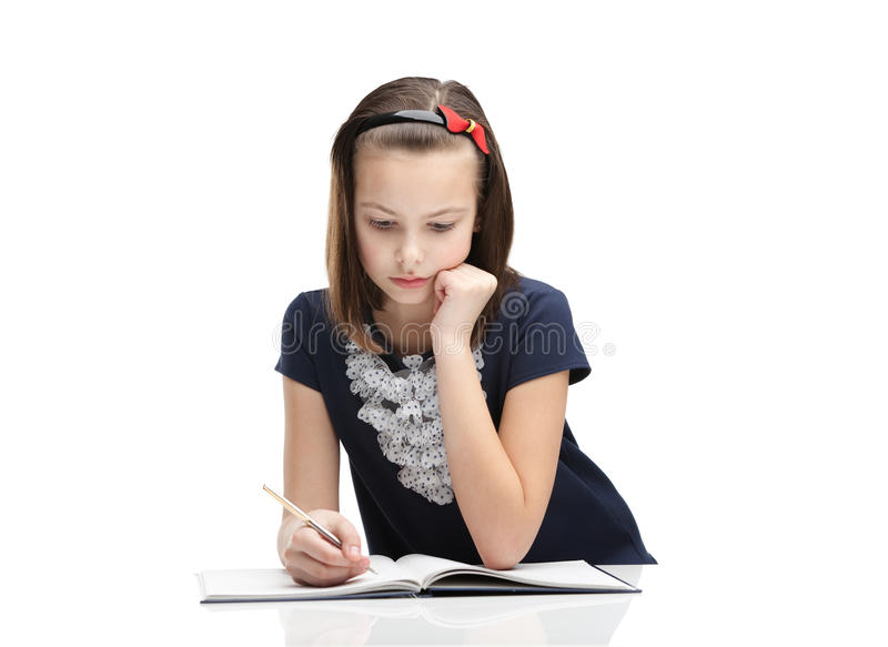 Download Little Girl Concentrates On The Task Stock Image - Image: 29692783