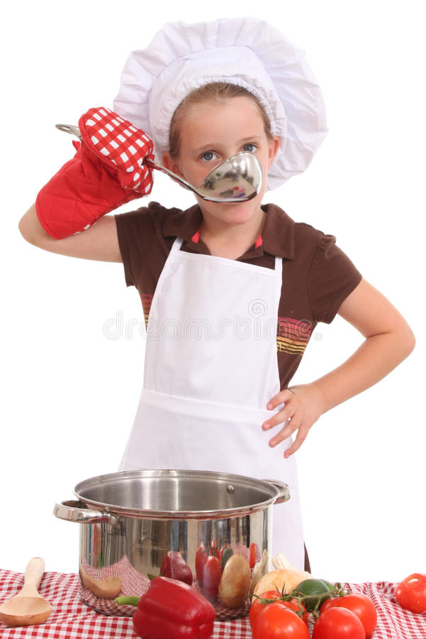 Little girl cook royalty free stock photos