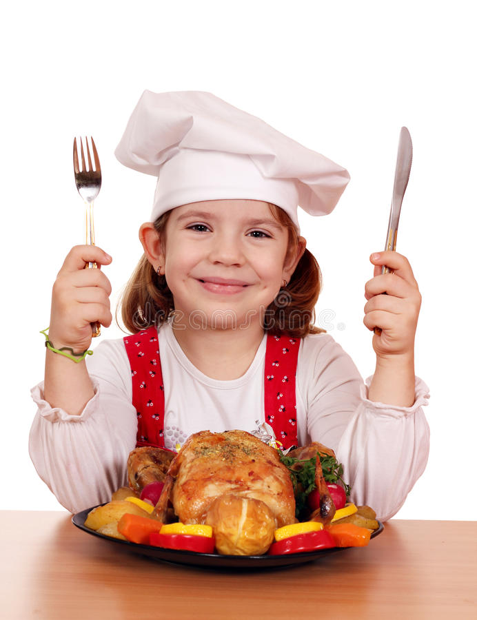 Little girl cook stock images