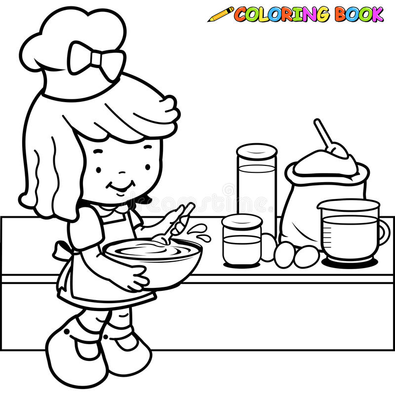 Little Girl Cooking Coloring Page Stock Vector Image 54812367